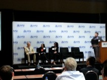 Chuck Thorpe (L), Annie Lien, and Myra Blanco discuss automated driving.